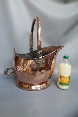 A LOVELY THICK COPPER VICTORIAN HELMET SHAPED COAL SCUTTLE c1860