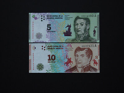 ARGENTINA BANKNOTES  -  AMAZING MILITARY ISSUE SET  5 and 10 Pesos      Mint UNC