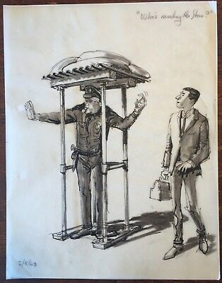 1963 Original Ink Drawing Storyboard WHO'S MINDING THE STORE w Jerry Lewis #76