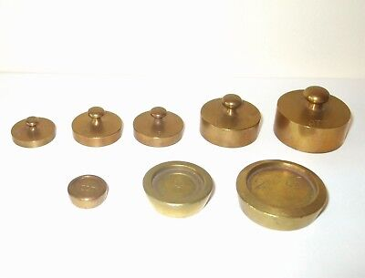 8 Old / Vintage  Brass Scale Weights