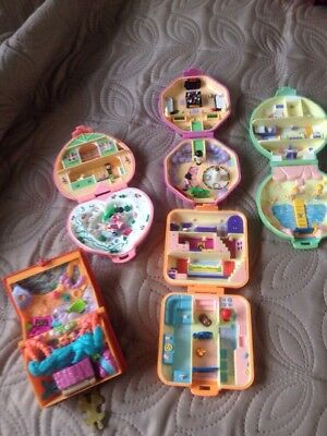 Job Lot X 5 Bluebird Vintage Polly Pockets Sets With Dolls Used