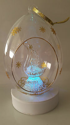 Sorelle Hand Blown & Painted Glass Swan In Globe - Turns Multi Colors - Ornament
