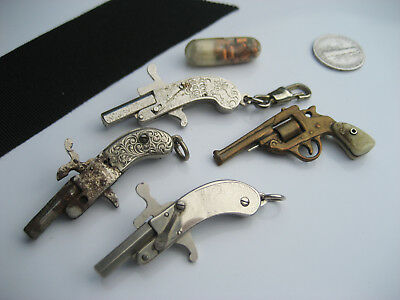 4 Antique Vintage Collectable Novelty Watch Fob Pistol Revolver Key Chain Lot