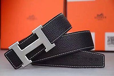 """Leather Black Belt Hermes Silver Buckle 32 """"-34"""" Size No Sales Tax Fast Shipping"""