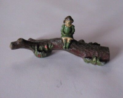 BRITAINS Lead Garden Series. Young Girl sitting on a Log. Hand Painted