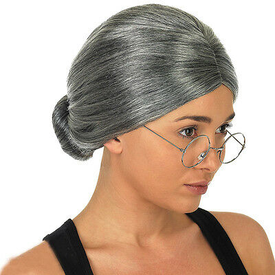 Grey Granny Wig Old Lady Woman Grandma Fancy Dress Party Set
