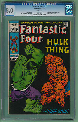 Fantastic Four #112 CGC 8.0  Classic Hulk vs. Thing battle cover