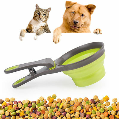 New Collapsible Food Scoop Measure Cup Bag Clip  Control For Healthy Pet