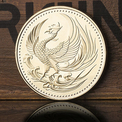 1x  Japan Golden Phoenix Chrysanthemum Commemorative Coin Crafts