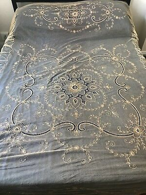 "Antique French Tambour Lace  Coverlet Bedspread 104""x72"