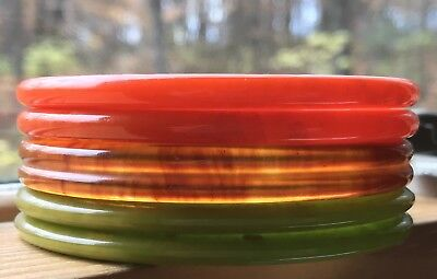 Vintage Sweet Stack Bakelite Tested Bracelet Bangle Set Lot For Fall!