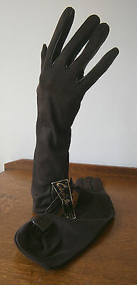 VINTAGE 1960s CORNELIA JAMES BROWN NYLON/LEATHER 3/4 LENGTH GLOVES TAG GOODWOOD