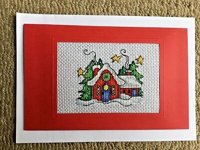 "completed Christmas cross stitch card with beads 7"" x 4"""