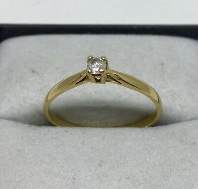 Ancienne bague  or 18 carats Solitaire Diamond Gold Ring