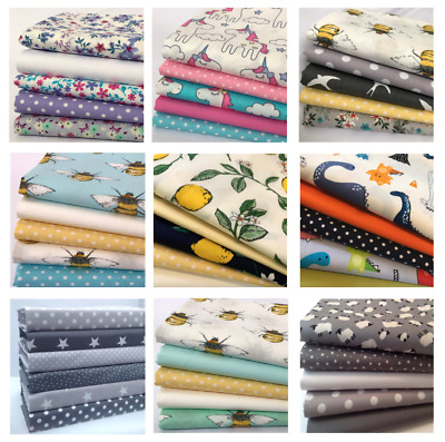 Fat Quarter Fabric Bundles, 100% Cotton, Children's, Animals, Stars & Novelty