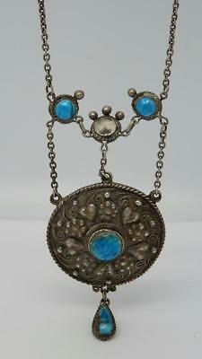 Antique Art Nouveau Arts & Crafts Sterling Silver Enamel Pendant Necklace c1910