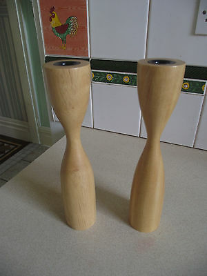 Wooden candle sticks x 2