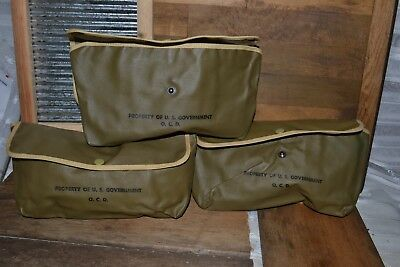Vintage US Stamped Flap Military Field Bag Pouch Army Sack Pack lot 15pc