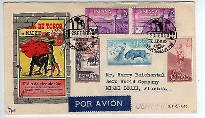 Nice! 5 Stamps FDC, Spain, 1960, Bullfighting, Cachet