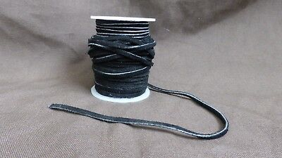 Roll of Flat Black Suede Leather Lace - 3mm wide - aprox. 20m.