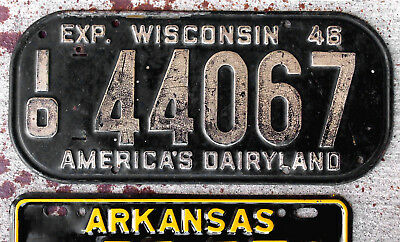 1946 White on Black Wisconsin License Plate