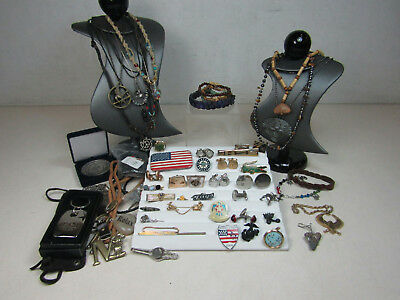 Mens Costume Jewelry Lot AS IS Necklaces Cufflinks Bolo Ties Keychains Pins