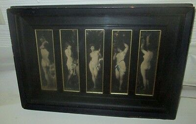 """ANTIQUE NUDE IMAGES """"THE FIVE MUSES"""" LATE 19th-EARLY 20th. RARE IMAGES ORIGINAL"""