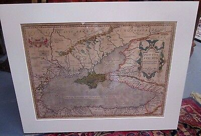 Hand Colored Copperplate Engraved Map By Abraham Ortelius Black Sea Circa 1590