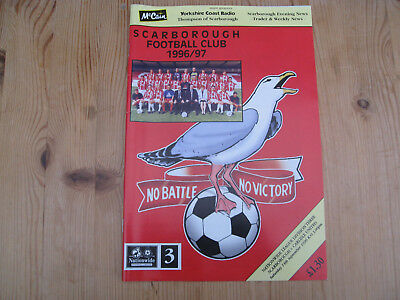 14 SEP 1996 . SCARBOROUGH v CARLISLE UNITED . MATCH PROGRAMME . McCain Stadium