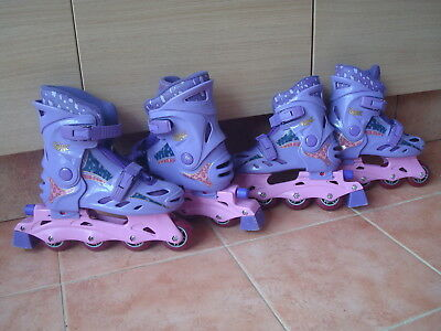 ~ BRATZ ~ IN-LINE ROLLER SKATES Adj Boot Fit HEEL BRAKE Precision Bearings UK2-4