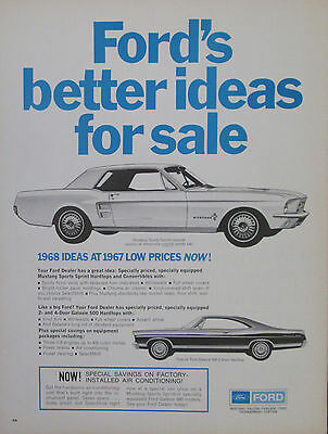 Ford Mustang & Galaxie 1968 Ideas at 1967 Low Prices 1967 Vintage Print Ad