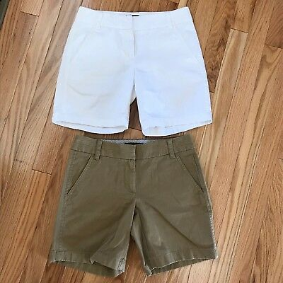 (2) J. Crew Womens Chino Shorts Casual Style Vacation Khaki And White Size 0