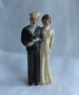 RARE MILITARY VINTAGE 1940s CHALKWARE SAILOR WEDDING CAKE TOPPER DAMAGED