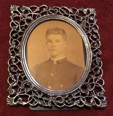 Ornate Metal Frame with Antique Photograph of Solider Young Man In Uniform