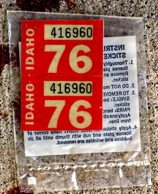Pair of Red 1976 Idaho License Plate Stickers