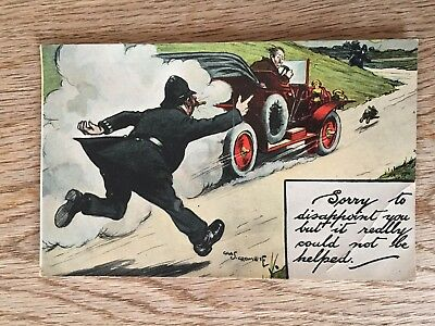 Postcard comic car accident by Crombie policeman