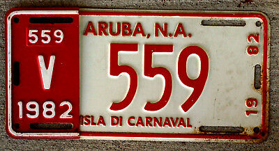 1982 Aruba License Plate with the Half-Year Control Revalidation Piece