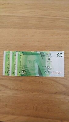 Gibraltar Banknotes - £5 Notes A/aa 153409,410 And 411