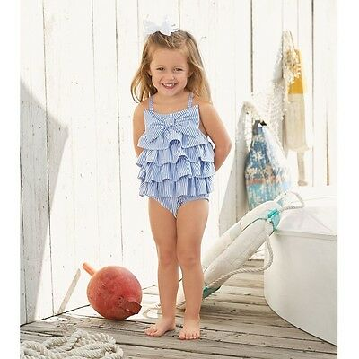Mud Pie E7 Baby Toddler Girl Seersucker Ruffle Bow One-Piece Swimsuit 1122132