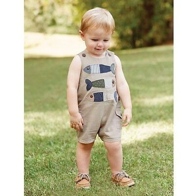 Mud Pie E7 Going Fishing Baby Boy Fish Stacked One-Piece Shortall 1032313