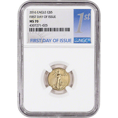 2016 American Gold Eagle (1/10 oz) $5 - NGC MS70 - First Day of Issue 1st Label