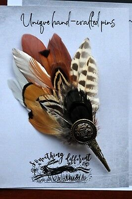feather brown pheasant Feather pin brooch Game Fedora trilby Hat Scarf Lapel new
