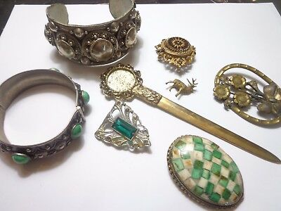 Antique Victorian Art Deco Jewelry Lot Ethnic Repair Lot Parts As Is