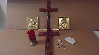 VINTAGE SICK CALL LAST RITE CRUCIFIX WOOD CROSS ROSARY  candles holy water  LOT