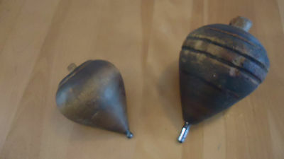2 Vintage Antique Wood Spinning Top with Metal Tip