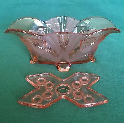 Brockwitz Pink Centerpiece Bowl & Flower Frog Flower Arranger 1930s Art Deco