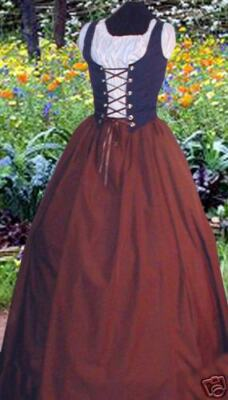 Renaissance Peasant WENCH Front-lace Dress Costume BLUE/BROWN HALLOWEEN AnySize