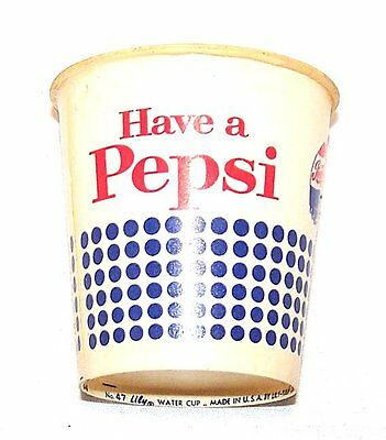 Pepsi Cola Sample Soda Pop Wax Paper Cup Flat Top Cone Can Clock Sign Beer MkOfr