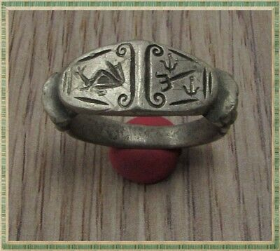 Ancient Silver LEGIONARY Greek Ring ** DOLPHINS - TREDENT and ANCHOR **