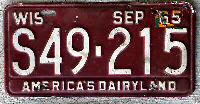 1965 White on Burgundy Wisconsin License Plate